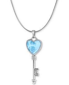 """Larimar & White Sapphire Heart Key 21"""" Necklace in Sterling Silver"""
