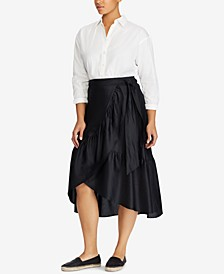 Plus Size Long Sleeve Shirt & Cotton Wrap Skirt