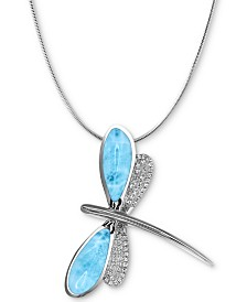 "Marahlago Larimar & White Sapphire (1/4 ct. t.w.) Dragonfly 21"" Pendant Necklace in Sterling Silver"