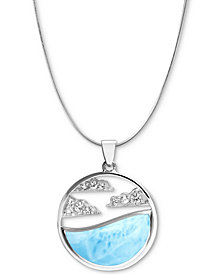 "Marahlago Larimar & White Sapphire Accent Cloud 21"" Pendant Necklace in Sterling Silver"