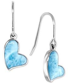 Marahlago Larimar Heart Drop Earrings in Sterling Silver