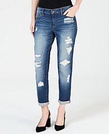 I.N.C. Ripped Curvy-Fit Boyfriend Jeans, Created for Macy's