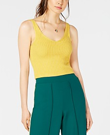 House of Polly  Ribbed-Knit Cropped Tank Top