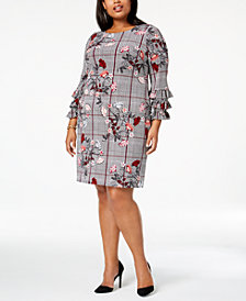 Alfani Plus Size Printed Tiered-Sleeve A-Line Dress, Created for Macy's