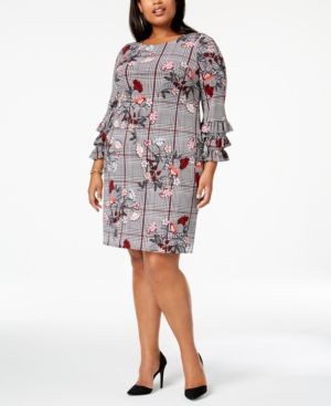 Image of Alfani Plus Size Printed Tiered-Sleeve A-Line Dress, Created for Macy's