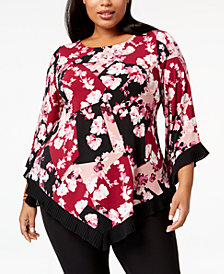 Alfani Plus Size Printed Pleated Handkerchief-Hem Top, Created for Macy's