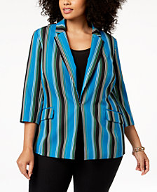 I.N.C. Plus Size Striped 3/4-Sleeve Blazer, Created for Macy's