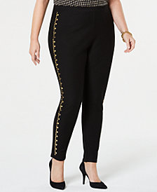 MICHAEL Michael Kors Plus Size Studded-Seam Skinny Pants