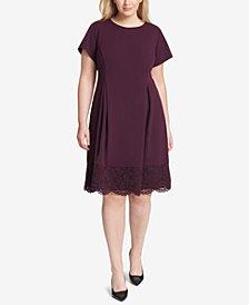 Jessica Howard Plus Size Lace-Trim Fit & Flare Dress