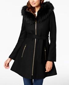 8b9ace67fb3fe Laundry by Shelli Segal Faux-Fur-Trim Hooded Coat