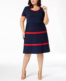 Anne Klein Plus Size Colorblocked Fit & Flare Dress
