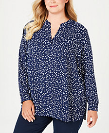 Anne Klein Plus Size Printed Split-Neck Tunic