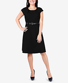 NY Collection Petite Belted Knit Dress