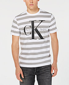 Calvin Klein Jeans Men's Striped Logo Graphic T-Shirt