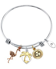 Unwritten Tricolor Tropical Flamingo, Palm Tree & Sun Charm Bangle Bracelet in Stainless Steel & Gold-Tone and Rose Gold-Tone Stainless Steel