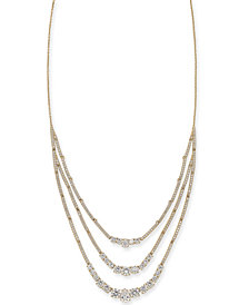 "Danori Crystal Triple-Layer Necklace, 16"" + 1"" extender, Created for Macy's"