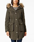BCBGeneration Faux-Fur-Trim Hooded Anorak