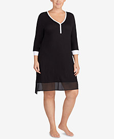 DKNY Plus Size Colorblocked Chiffon-Hem Sleepshirt