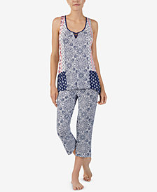Ellen Tracy Printed Cropped Pajama Set