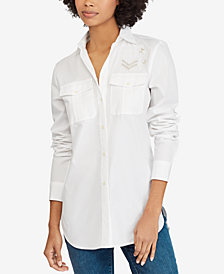 Lauren Ralph Lauren Bullion-Patch Cotton Poplin Shirt
