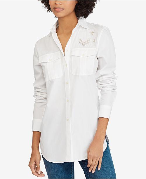 bcf1a030e6e4 Lauren Ralph Lauren Bullion-Patch Cotton Poplin Shirt   Reviews ...