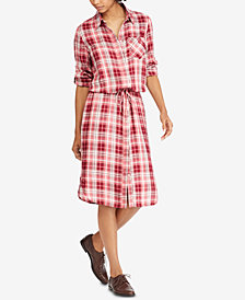 Lauren Ralph Lauren Plaid Drawstring Shirtdress