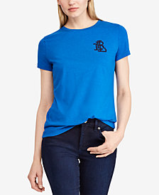 Lauren Ralph Lauren Beaded Logo T-Shirt, Created for Macy's