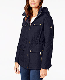 MICHAEL Michael Kors Petite Hooded Quilted Coat