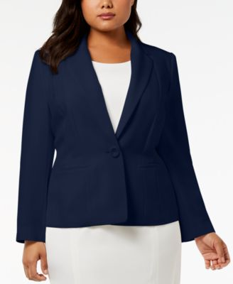 Plus Size One-Button Crepe Jacket