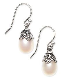 Cultured Freshwater Pearl (8mm) Drop Earrings in Sterling Silver