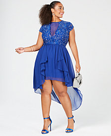 City Studios Trendy Plus Size Illusion Lace High-Low Dress