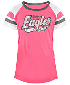 5th & Ocean Philadelphia Eagles Pink Foil T-Shirt, Girls (4-16)