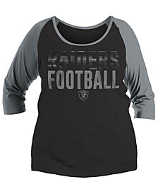 5th & Ocean Women's Oakland Raiders Plus Size Colorblock Raglan T-Shirt