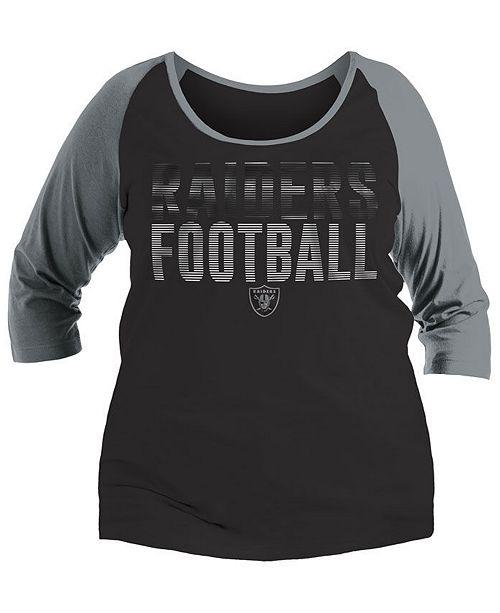 new product 11678 218b2 5th & Ocean Women's Oakland Raiders Plus Size Colorblock ...