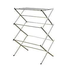 3 Tier Rust-Proof Enamel Coated Steel Collapsible Clothes Drying Rack, Grey