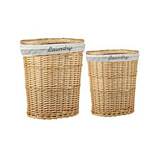 Home Basics 2 Piece Wicker Hamper with Removable Liner
