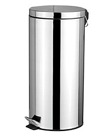 30 Liter Polished Stainless Steel Round Waste Bin, Silver