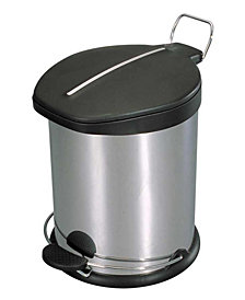 Home Basics 20 Liter Brushed Stainless Steel  with Plastic Top Waste Bin