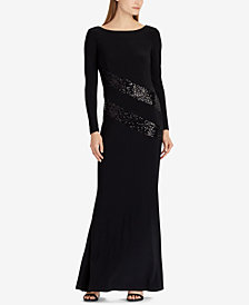 Lauren Ralph Lauren Sequin-Trim Gown