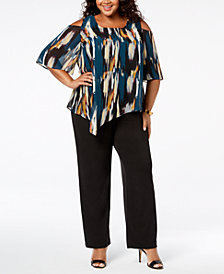 NY Collection Plus & Petite Plus Size Print Overlay Jumpsuit