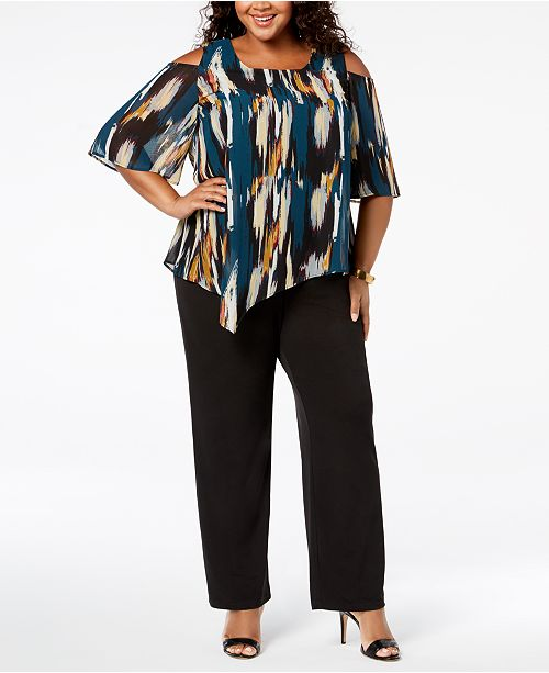 f810fdd7892 ... NY Collection Plus   Petite Plus Size Print Overlay Jumpsuit ...