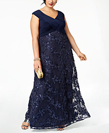 Alex Evenings Plus Size Embellished Appliqué Gown