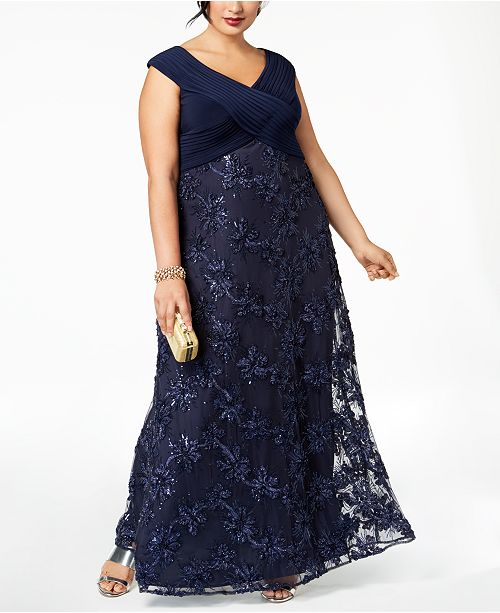 bc07bee361247 Alex Evenings Plus Size Embellished Appliqué Gown - Dresses - Women ...