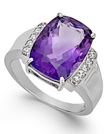 Amethyst (6 ct. t.w.) & Diamond (1/10 ct. t.w.) Statement Ring in 14k White Gold