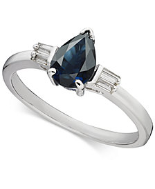 Sapphire (7/8 ct. t.w.) & Diamond (1/8 ct. t.w.) Statement Ring in 14k White Gold
