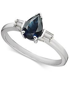 Sapphire (7/8 ct. t.w.) & Diamond (1/8 ct. t.w.) Statement Ring in 14k White Gold