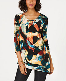 JM Collection Asymmetrical Keyhole Top, Created for Macy's