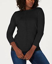 Karen Scott Petite V-Detail Sweater, Created for Macy's