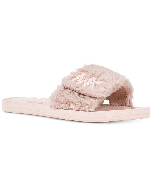 5ac54aa8e Michael Kors MK Faux Fur Slide Sandals & Reviews - Sandals & Flip ...