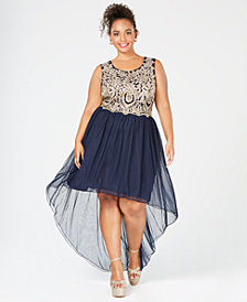 City Studios Plus Size High-Low Embellished Gown